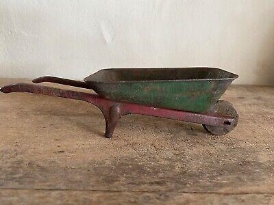Sweet Old Antique Original Paint Red Green Small Wheelbarrow Metal Toy? AAFA