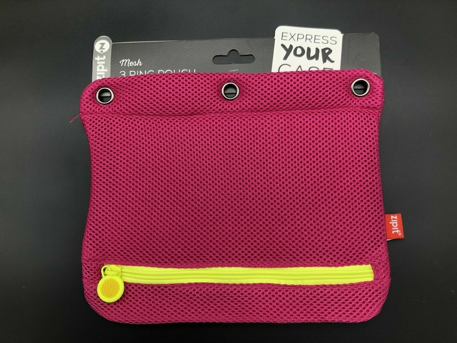 2x TWO NEW ZIPIT 3 Ring Mesh Pencil Case pink/yellow or blue