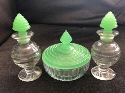 Vintage JADITE & CLEAR Glass Vanity Set 3pcs PERFUME BOTTLE Powder Jar RINGS