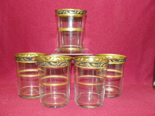 "(5) Antique HAWKES Crystal - 4"" TUMBLERS - Gold encrusted Laurel band rim"