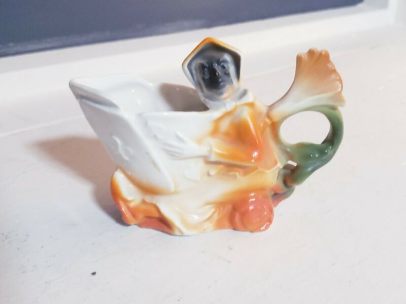 Rare Vintage Porcelain Witch Playing Cards Pitcher Creamer Germany Halloween