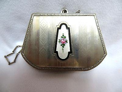 Antique Silver w/ Guilloche Enamel Rouge Lipstick Coin Dance Chatelaine Compact