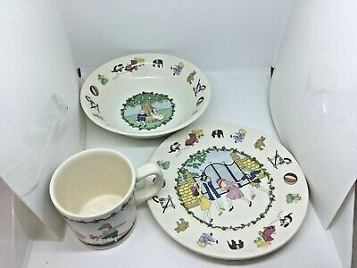 Laura Ashley Playtime Plate Bowl Cup Children's Dish Set Ball Train Porcelain