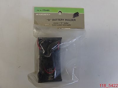 "Qty=5 NOS RadioShack / Archer 270-403 ""D"" Battery Holder w/ color coded leads"