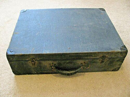 """Vtg 19x14x5.5"""" Valise Attache Brief Case 1930-1950s Hinge Locks Work  Art Case"""