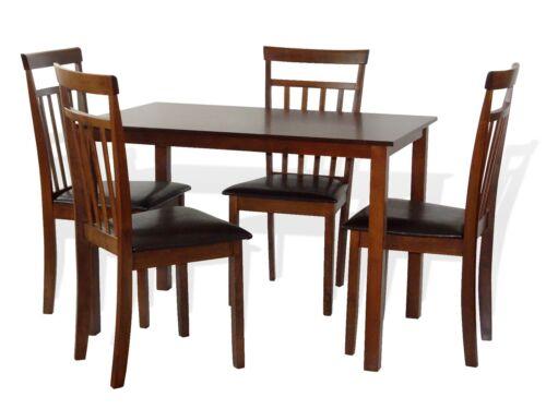 Dining Kitchen 5 Pc Set Rectangular Table 4 Warm Chairs Dark Walnut