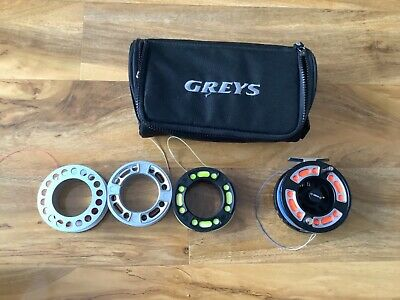 GREYS GRX i 7/8 TROUT FLY FISHING REEL WITH SPARE SPOOLS, LINE & BAG