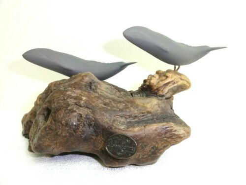"John Perry Sea Sculpture Grey Whales on Burl Wood Base Art 8 3/4""W & 4 3/4""H"
