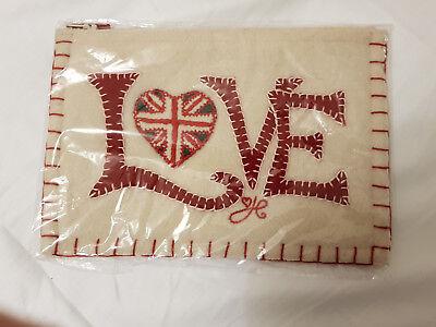 BNWT Jan Constantine Love and Heart Felt Appliqued Purse/Pouch/Bag