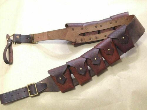 "UK 1903 Pattern Leather Cavalry Bandolier ""OILED LEATHER"" - Repro JAWA COSTUME"