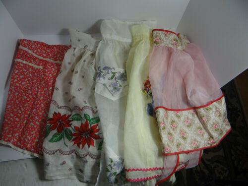 Vintage Lot of 5  Half Aprons Sheer Christmas