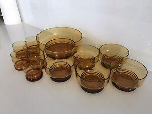 Vintage Amber Glass Dessert Set