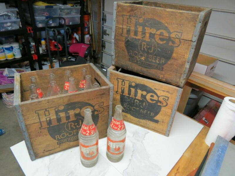 Vintage Hires Root Beer Glass Bottles (12)