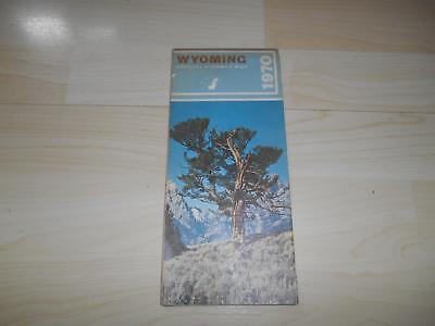 Old Vtg 1970 WYOMING OFFICIAL HIGHWAY ROAD STREET FOLDING MAP Advertising