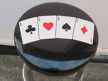 BAR STOOL, BLACK SEAT, 4 ACES, CARDS, POKER HAND, CHROME LEGS. Mount Warrigal Shellharbour Area Preview