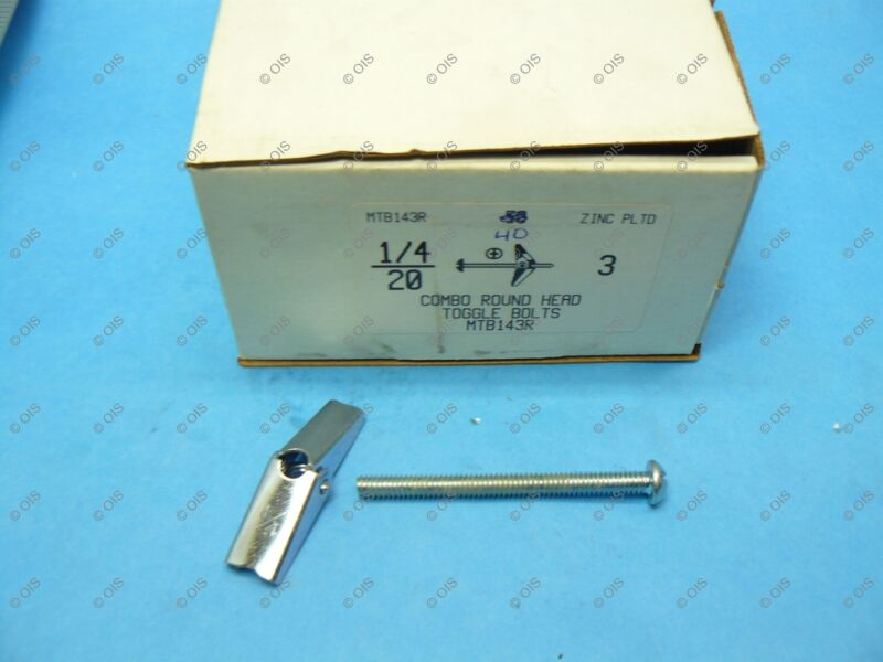 "1/4"" x 3"" Combo Round Head Toggle Bolt Zinc Plated Steel QTY 40 Free Ship"