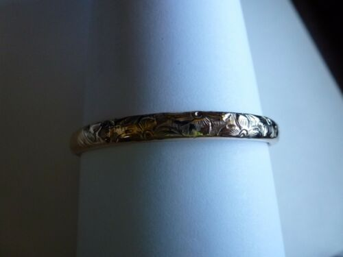 Antique Gold Filled Etched Floral Hinged 6inches around Baby Kid Bangle Bracelet