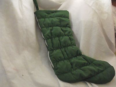 "Christmas Stocking, Reversible w/Zipper, Red/Green Plaid/Solid Green, 19"" NWOT"