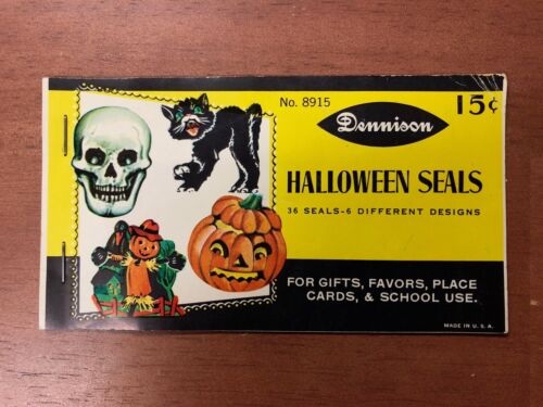Vintage Dennison Halloween Seal Sticker Booklet 6 Designs Cat Witch Skull Unused