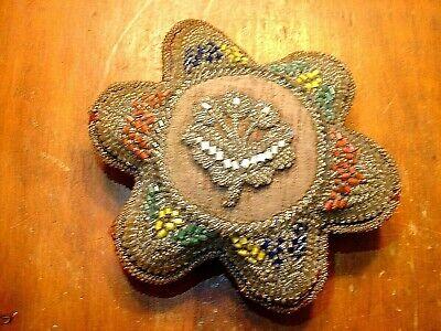 Lovely Needlepoint Pincushion Ornament with Bead Fringe