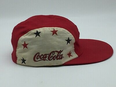 Coca Cola 5 Panel Hat VIntage Rare Long Bill USA Stars Coke Soda XL Cotton