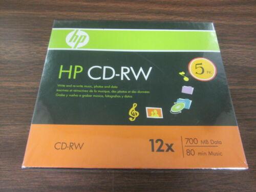 HP CD-RW 5 pack 12X, 700 MB data, 80 min music