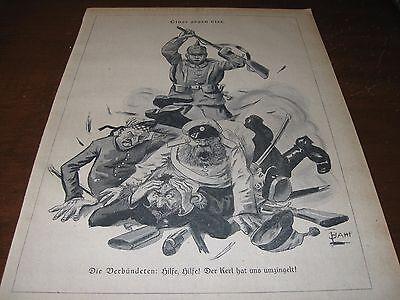 1914 Original POLITICAL CARTOON - WWI ALLIES Yelling HELP! as GERMAN SOLDIER War