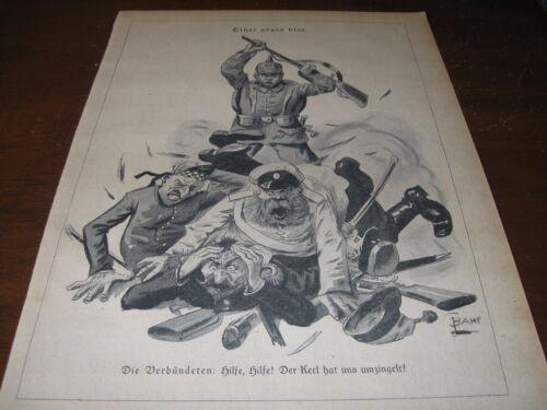 1914 Original POLITICAL CARTOON - WWI ALLIES Yelling HELP! as Pro-GERMAN Art War