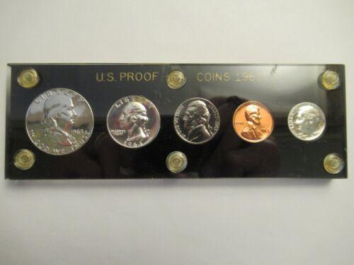 1963 US Mint Silver Proof Set, 5 coins, black holder