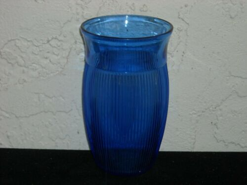 Hazel Atlas Fine Rib Iced Tea Tumbler  Cobalt Blue
