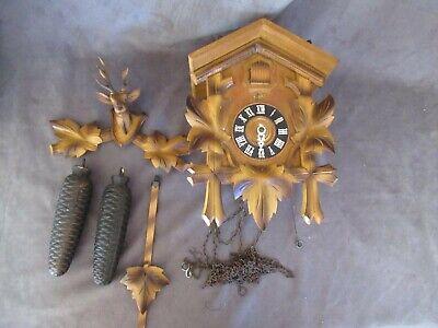 Vintage SCHATZ German Cuckoo Clock - Deer Head - Works Parts or Repair dl