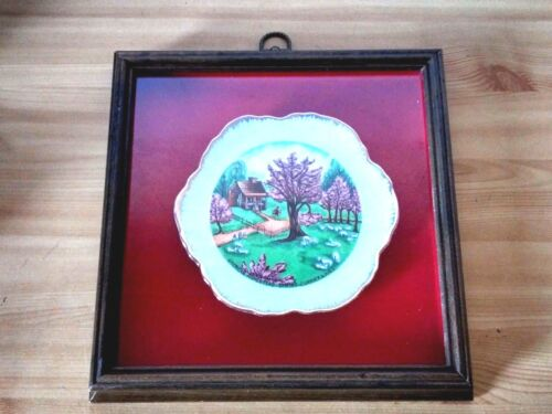 VTG American Homestead Spring Currier & Ives Collector Plate with Wooden Frame