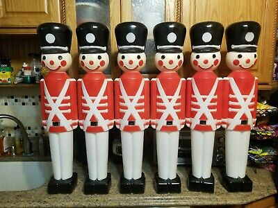 """Set of 6 Vintage Union Products 30"""" Christmas Blow Mold Toy Soldiers Nutcracker"""