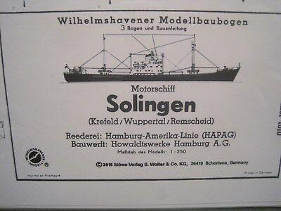 Solingen Motorschiff Frachter Schiff Wilhelmshavener Modellbaubogen Kartonmodell