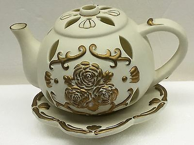 Teapot Candle Warmer Beige with Gold Trim  #342