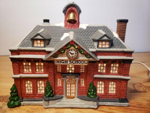 "Vintage St. Nicholas Square   ""HIGH SCHOOL""   Porcelain Lighted Village House"