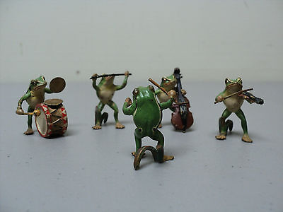 Adorable 5-Piece Vienna Bronze Miniature FROG BAND Figurines