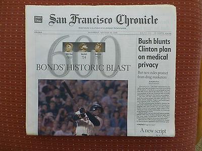 BARRY BONDS'  HISTORIC BLAST!   #600!   San Francisco Chronicle 8-10-2002...NEW!