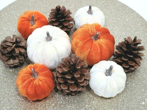 Thanksgiving Fall Velvet Gourd Pumpkin Bowl Fillers Wreaths Tabletop Decor