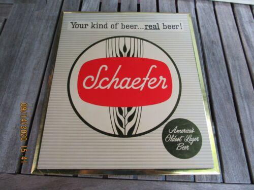 SCHAEFER BEER TIN OVER CARDBOARD EASEL SIGN NEVER USED 1950