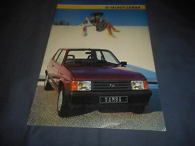 1985 Citroen Talbot Samba French Market Brochure Catalog Prospekt
