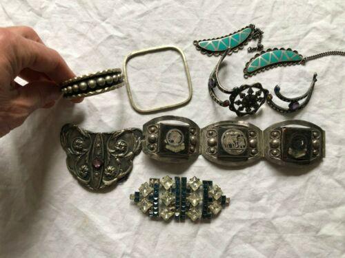 11 oz Lot Vintage Mostly Mexican Sterling Silver Bracelets and Belt Buckles