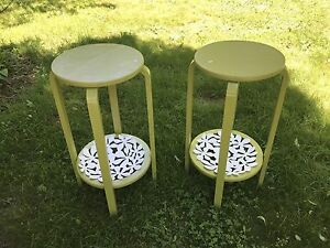 Nice Vintage Side Tables Refinished. Plant Stands. Stools. Green