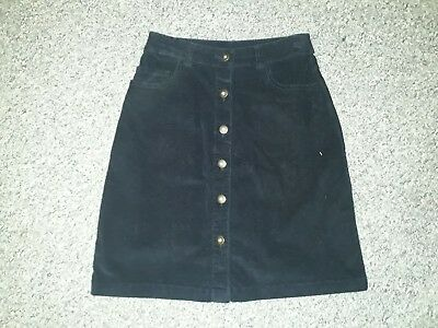 NEW LADIES NAVY BLUE CORD BUTTON FRONT A LINE MINI SKIRT SIZE 6 ()