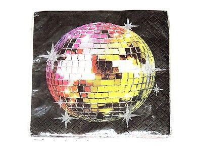DISCO FEVER 16-PAPER DESSERT  NAPKINS-  PARTY - Disco Paper