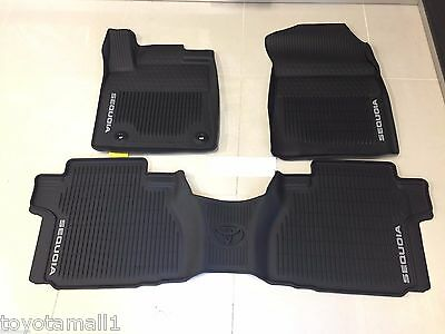 2016 2017 SEQUOIA FLOOR MAT LINERS RUBBER ALL WEATHER LIP STYLE TOYOTA OEM 3PC