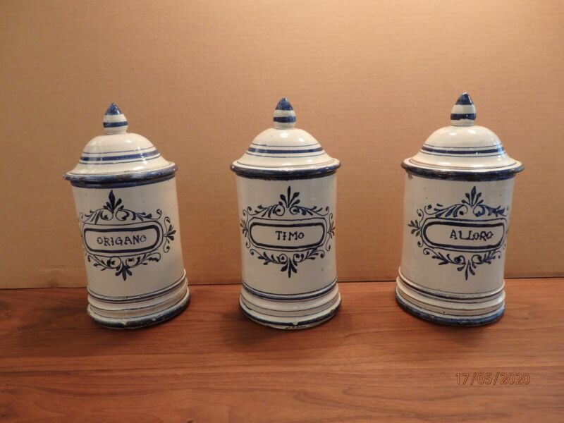 Set of 3 - Italian Pottery  Kitchen Canister ,Hand Painted,Unknown Age,