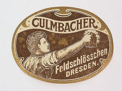 JUGENDSTIL BIER ETIKETT CULMBACHER FELDSCHLÖSSCHEN DRESDEN UM 1910