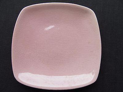 """For sale LA MIRADA CALIFORNIA POTTERY 1935-39 pink/white sq bread plate 5 1/2"""" mandarin"""