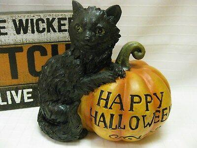 BLACK CAT PRIMITIVE HAPPY HALLOWEEN ORANGE PUMPKIN Sculpture FIGURINE Resin - Halloween Pumpkin Sculptures